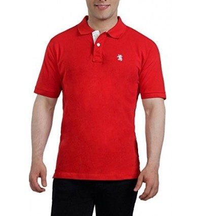 The Cotton Company Men's Cotton Polo T-Shirt Large Red B00RGUY85K