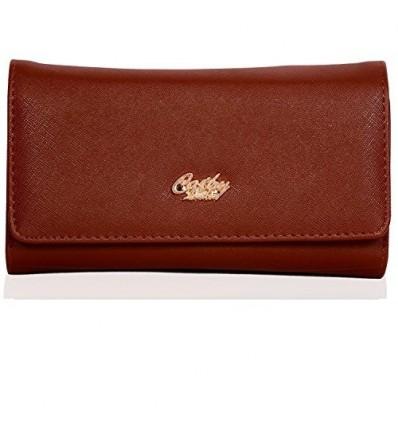 CATHY LONDON Girl's PU Leather Wallet Clutch Medium Brown B01FJR9VHQ
