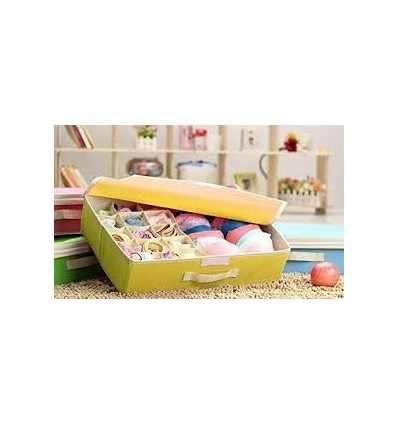 15+1 Compartment Cell Foldable Storage Box type Non-Smell Drawer Organizer-Yellow