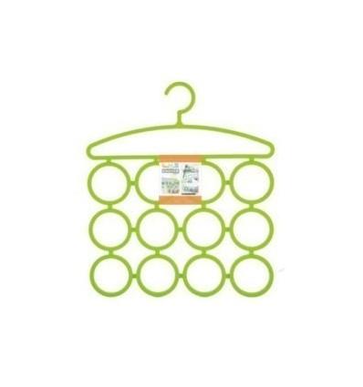 Multi Purpose 12 Rings Hanger for Ties Scarfs Belts Bags Coat Etc Cloth Hanger - Green