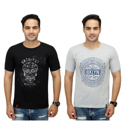 Inkdice combo pack of 2 Black & Grey cotton round neck T-Shirt for Mens