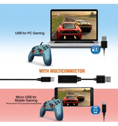 Amkette EVO Gamepad Elite Wired controller for PC Android TV Phone and Sony PS3