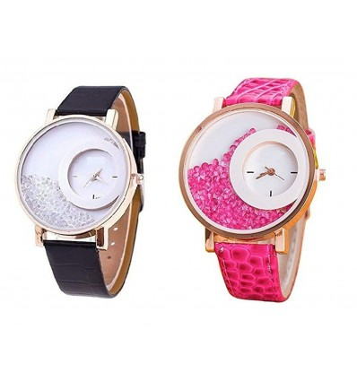 Bollywood Designer Analogue Diamond White Dial Watch for Girls and Women Pack Of 2 - W-Diamond