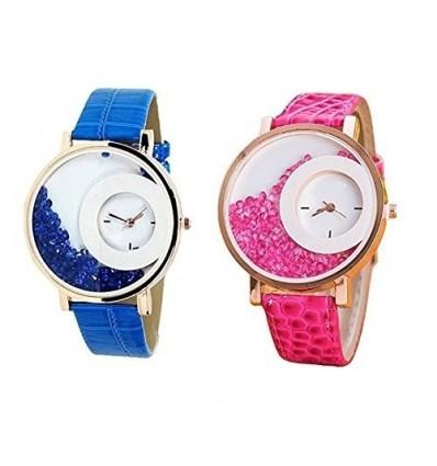Bollywood Designer Digital Multi-Colour Dial Women's Watch (Pack of 2) -diamond13