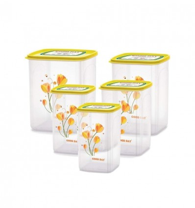 Chefware Kitchen Containers set of 5 pcs Yellow Color  Air tight Containers   Modular Containers   100% Food Grade Plastic