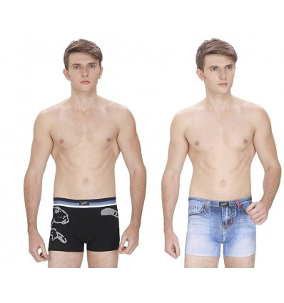 Jonty Men's 3D Print Boxer BlackPanth-LBlueJeans (Pack of 2)
