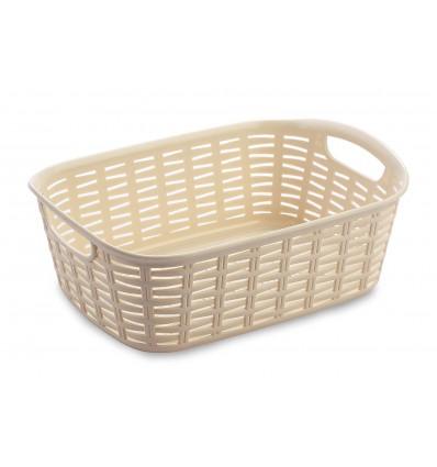 All Time Plastics Rattan Plastic Shelf Basket, 2 Litres, Cream 2Cream
