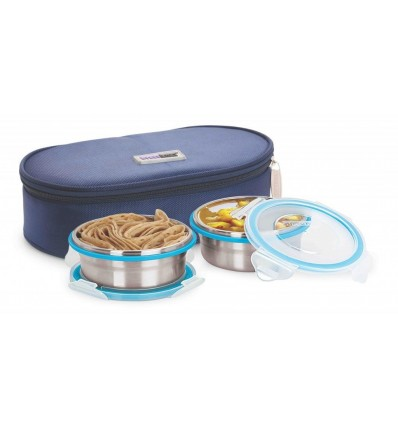 Steel Lock HL- 1351 Airtight 2 pc 400 ml Each Lock Steel Lunch/Meal/Tiffin Box with Insulated bag