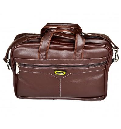 Zenniz Leather 31 Liters Brown Laptop Briefcase