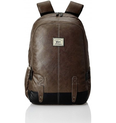 Gear Classic Anti Theft Faux Leather 20 Ltrs Brown Laptop Backpack LBPCLSLTH0201