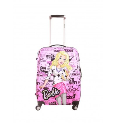 Humpty Dumpty Polycarbonate Pink 18 Inch Disney Barbie Star Hard Luggage Trolley Travel Bag for Kids