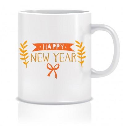 Happy New Year Greetings Printed Ceramic Coffee Mug ED294