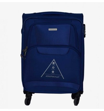 Aristocrat Amber 58 cm Soft Trolley Blue Expandable Cabin Luggage 22 inch Blue