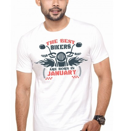 Best Bikers Are Born In January Printed T-shirts pepperClub White