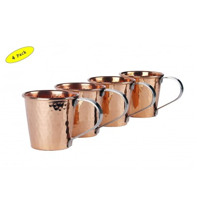 Saga Hammered Moscow Mule 100% Solid Copper Mug 20Oz- Set Of 4