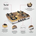 Sunflame Crystal Stainless Steel 4 Burner Gas Stove Gold