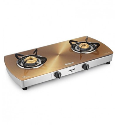 Sunflame Crystal Metal Art Gold Toughened Glass 2-burner Auto Ignition Cooktop