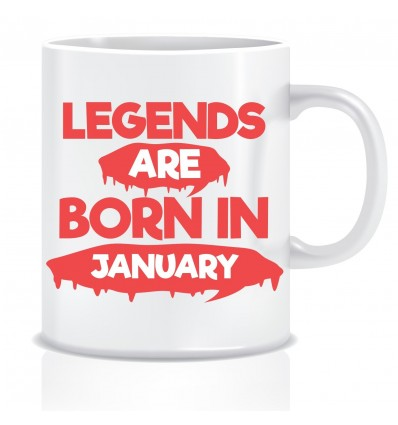 Everyday Desire Legends are Born in January Ceramic Coffee Mug ED313 - Birthday gifts for Boys, Men, Father