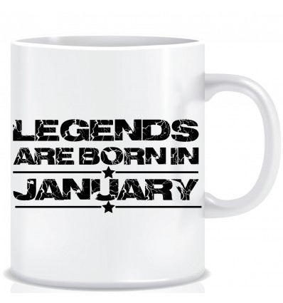 Everyday Desire Legends are Born in January Ceramic Coffee Mug ED331 - Birthday gifts for Boys, Men, Father