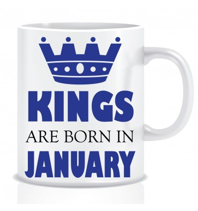Everyday Desire Kings are Born in January Ceramic Coffee Mug ED343 - Birthday gifts for Boys, Men, Father