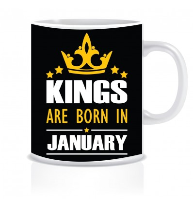 Everyday Desire Kings are Born in January Ceramic Coffee Mug ED344 - Birthday gifts for Boys, Men, Father