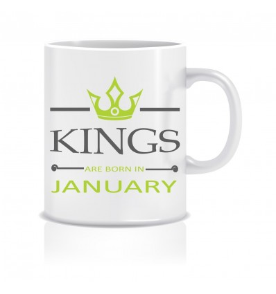 Everyday Desire Kings are Born in January Ceramic Coffee Mug ED345 - Birthday gifts for Boys, Men, Father
