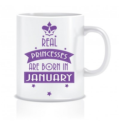 Everyday Desire Princesses are Born in January Ceramic Coffee Mug ED378 - Birthday gifts for Girls, Women, Mother