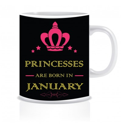 Everyday Desire Princesses are Born in January Ceramic Coffee Mug ED382 - Birthday gifts for Girls, Women, Mother