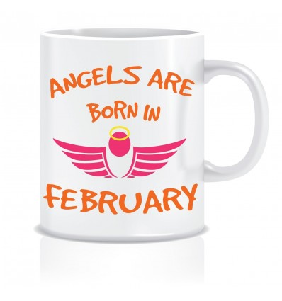Everyday Desire Angels are Born in February Ceramic Coffee Mug - Birthday gifts for Girls, Women, Mother - ED443