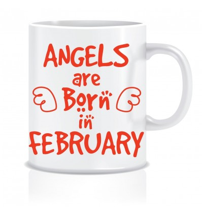 Everyday Desire Angels are Born in February Ceramic Coffee Mug - Birthday gifts for Girls, Women, Mother - ED446