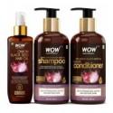 Wow skin science onion oil ultimate hair care kit shampoo + hair conditioner + hair oil 800 ml