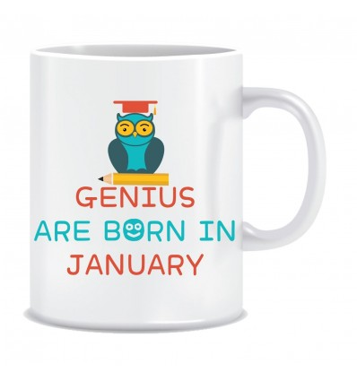 Everyday Desire Genius are Born in January Ceramic Coffee Mug - Birthday gifts for Boys, Men, Father - ED538