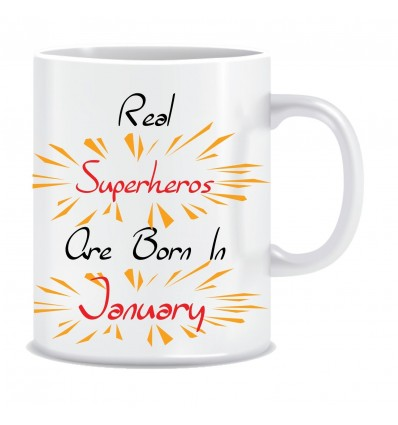 Everyday Desire Superheroes are Born in January Ceramic Coffee Mug - Birthday gifts for Boys, Men, Father - ED551