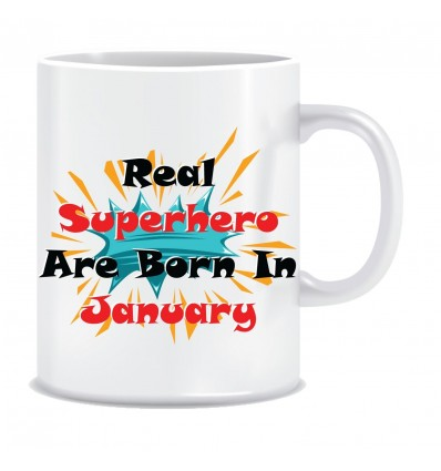 Everyday Desire Superheroes are Born in January Ceramic Coffee Mug - Birthday gifts for Boys, Men, Father - ED552