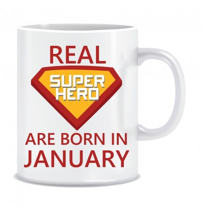 Everyday Desire Superheroes are Born in January Ceramic Coffee Mug - Birthday gifts for Boys, Men, Father - ED555