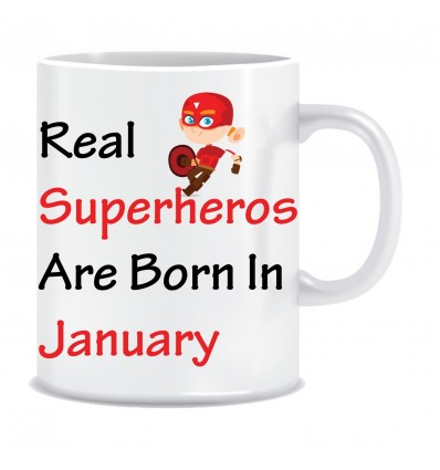 Everyday Desire Superheroes are Born in January Ceramic Coffee Mug - Birthday gifts for Boys, Men, Father - ED556