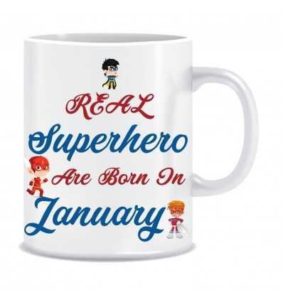 Everyday Desire Superheroes are Born in January Ceramic Coffee Mug - Birthday gifts for Boys, Men, Father - ED557