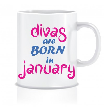 Everyday Desire Divas are Born in January Ceramic Coffee Mug - Birthday gifts for Girls, Women, Mother - ED590