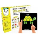 Magnetic Puzzles : Triangles (Includes 250 colorful magnets + 100 puzzles + magnetic board + display stand)