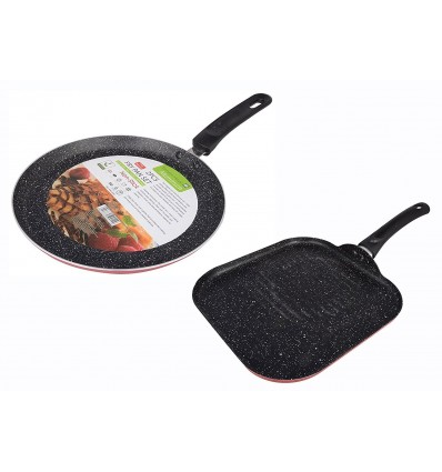 Tarrington House Hard-Anodized Aluminum Frying Pan Set, 3 Liter, Red & Black, Set of 2