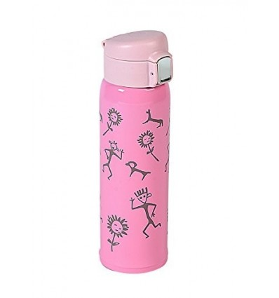 Polo Lifetime Double Walled Stainless Steel Printed Push Button Vaccum Bottle - Hot/Cold (Pink, 500ml)