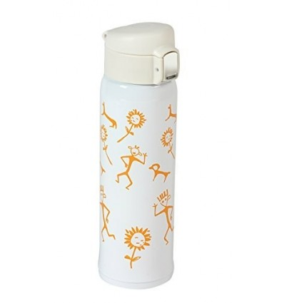 Polo Lifetime Double Walled Stainless Steel Printed Push Button Vaccum Bottle - Hot/Cold (White, 500ml)
