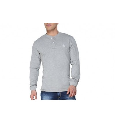 The Cotton Company Men's Cotton Henley Full Sleeve T Shirt X-Large Misty Grey Melange