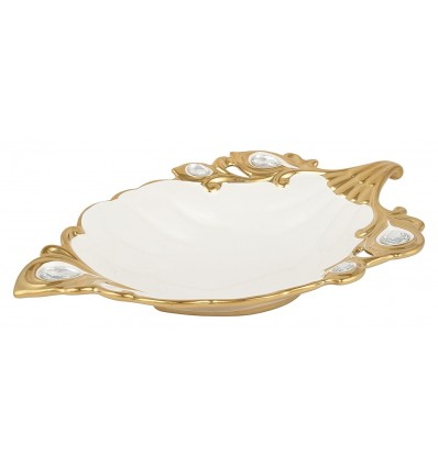 Diwali Gift Box Ideas Gold and White Bone China Decorative Salad Bowl, 1-Piece, 500 ml, 30 cm